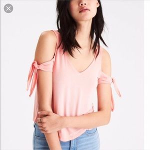 NEVER WORN AEO COLD SHOULDER coral shirt